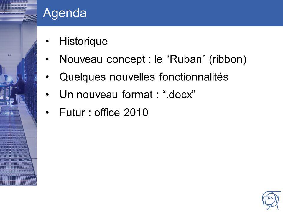 CERN IT Department CH-1211 Genève 23 Switzerland www.cern.ch/i t Agenda Historique Nouveau concept : le Ruban (ribbon) Quelques nouvelles fonctionnalités Un nouveau format :.docx Futur : office 2010