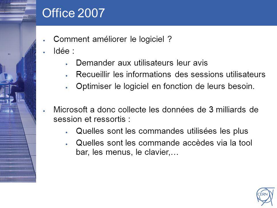 CERN IT Department CH-1211 Genève 23 Switzerland www.cern.ch/i t Office 2007 Comment améliorer le logiciel ? Idée : Demander aux utilisateurs leur avi