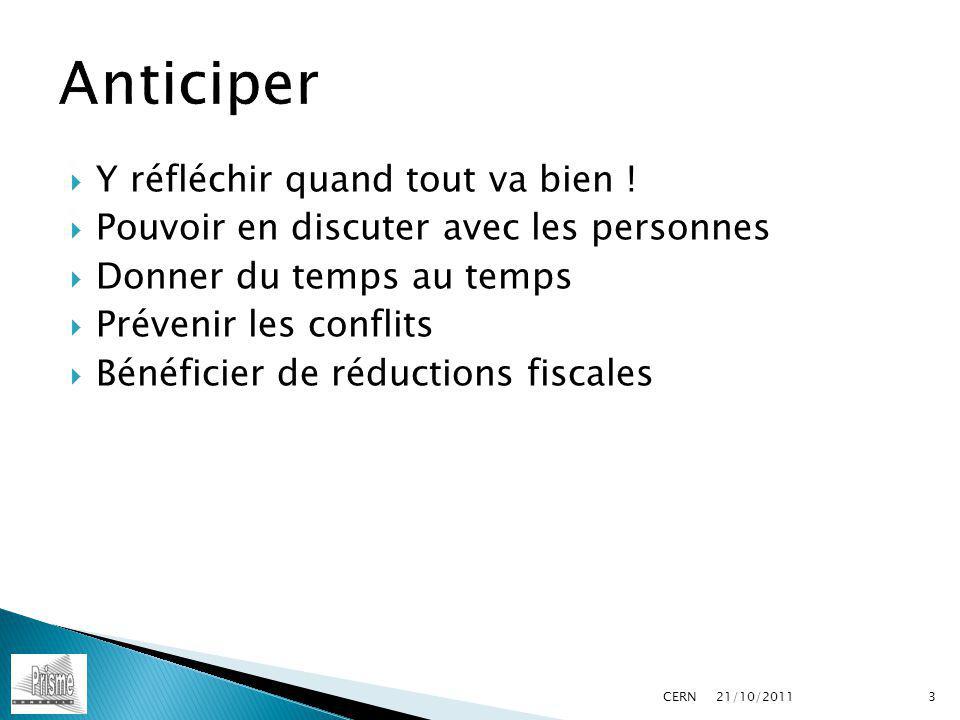 Prévoir un notaire Etablir un planning des actions NE PAS remettre au lendemain… 21/10/2011 CERN14
