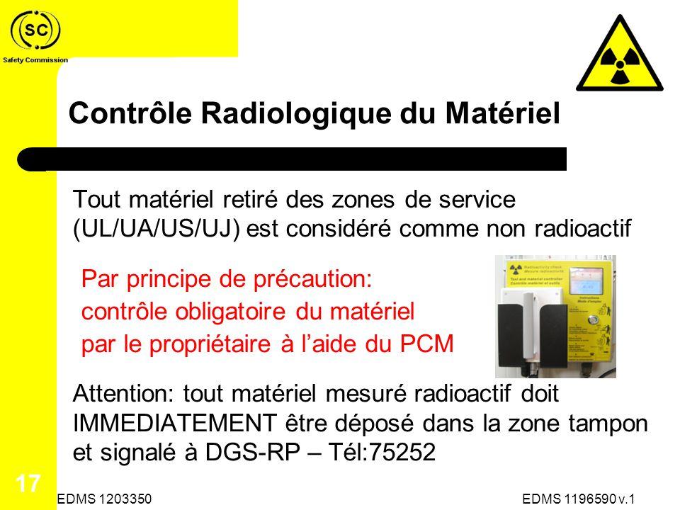 Contrôle Radiologique du Matériel Tout matériel retiré des zones de service (UL/UA/US/UJ) est considéré comme non radioactif Par principe de précaution: contrôle obligatoire du matériel par le propriétaire à laide du PCM Attention: tout matériel mesuré radioactif doit IMMEDIATEMENT être déposé dans la zone tampon et signalé à DGS-RP – Tél:75252 EDMS 1196590 v.1 17 EDMS 1203350