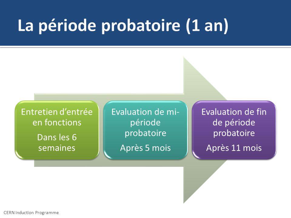 Entretien dentrée en fonctions Dans les 6 semaines Evaluation de mi- période probatoire Après 5 mois Evaluation de fin de période probatoire Après 11