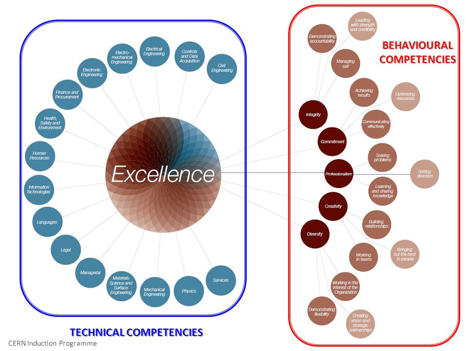 CERN Induction Programme – Geneviève Guinot TECHNICAL COMPETENCIES BEHAVIOURAL COMPETENCIES CERN Induction Programme