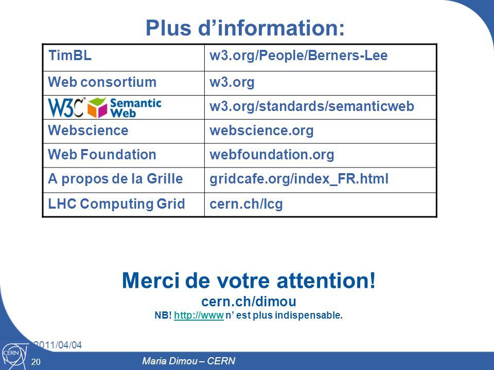 20 2011/04/04 Plus dinformation: Merci de votre attention! cern.ch/dimou NB! http://www n est plus indispensable.http://www Maria Dimou – CERN TimBLw3