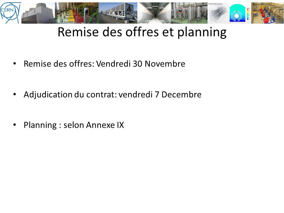 Remise des offres: Vendredi 30 Novembre Adjudication du contrat: vendredi 7 Decembre Planning : selon Annexe IX Remise des offres et planning