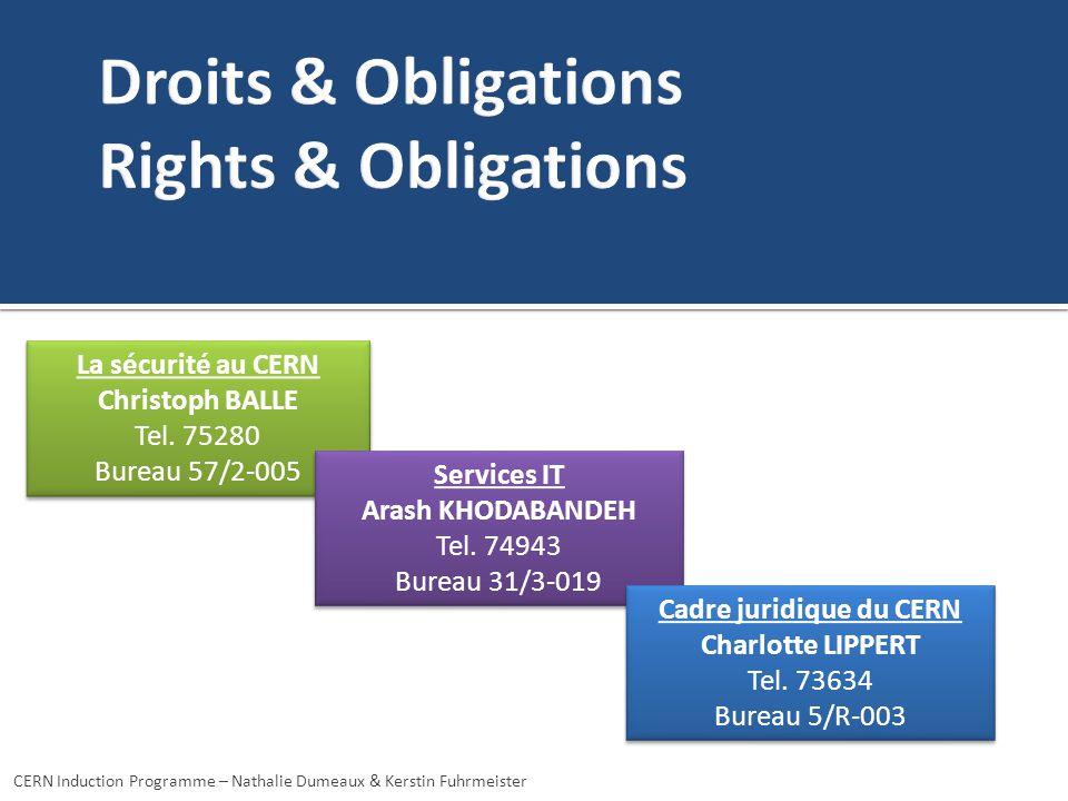 CERN Induction Programme – Nathalie Dumeaux & Kerstin Fuhrmeister La sécurité au CERN Christoph BALLE Tel. 75280 Bureau 57/2-005 La sécurité au CERN C