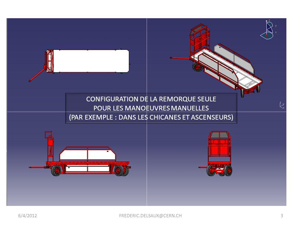 6/4/20124FREDERIC.DELSAUX@CERN.CH VOLUME INTERIEUR DE LASCENCEUR DU POINT 7 (EN JAUNE) AVEC LA REMORQUE SEULE DEPASSEMENT DE 355 mm DE LA REMORQUE SEULE (SANS LE TIMON)