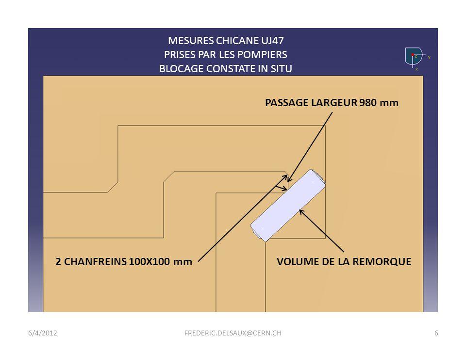 6/4/2012FREDERIC.DELSAUX@CERN.CH7 PASSAGE LARGEUR 1100 mm 2 CHANFREINS 145X145 mm MODIFICATIONS CHICANE UJ47 PASSAGE POSSIBLE EN THEORIE (MESURES A CONFIRMER) (MODIFIER LA REMORQUE EST INSUFFISANT) VOLUME DE LA REMORQUE 120 mm A RABOTER