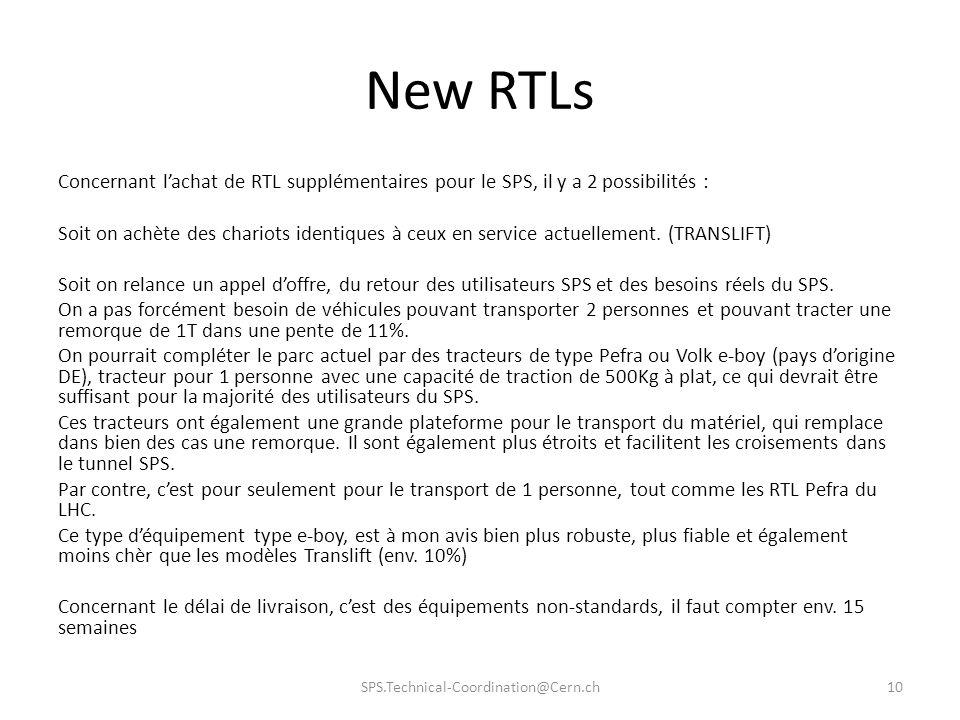 New RTLs Concernant lachat de RTL supplémentaires pour le SPS, il y a 2 possibilités : Soit on achète des chariots identiques à ceux en service actuel