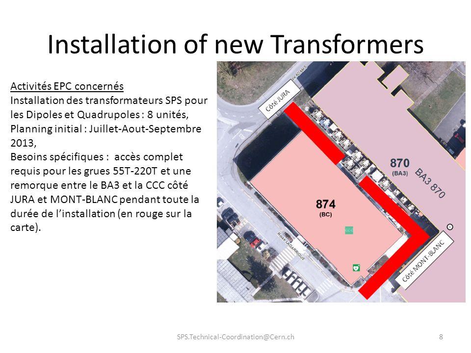 Installation of new Transformers SPS.Technical-Coordination@Cern.ch8 Activités EPC concernés Installation des transformateurs SPS pour les Dipoles et