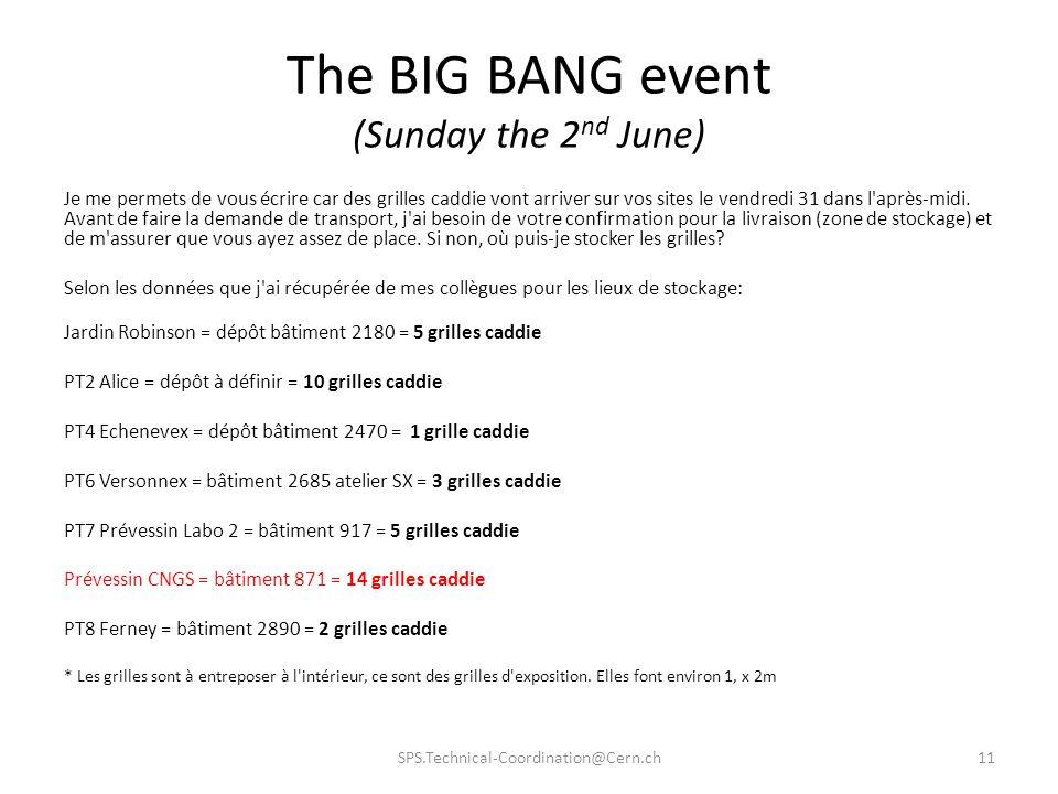 The BIG BANG event (Sunday the 2 nd June) Je me permets de vous écrire car des grilles caddie vont arriver sur vos sites le vendredi 31 dans l'après-m