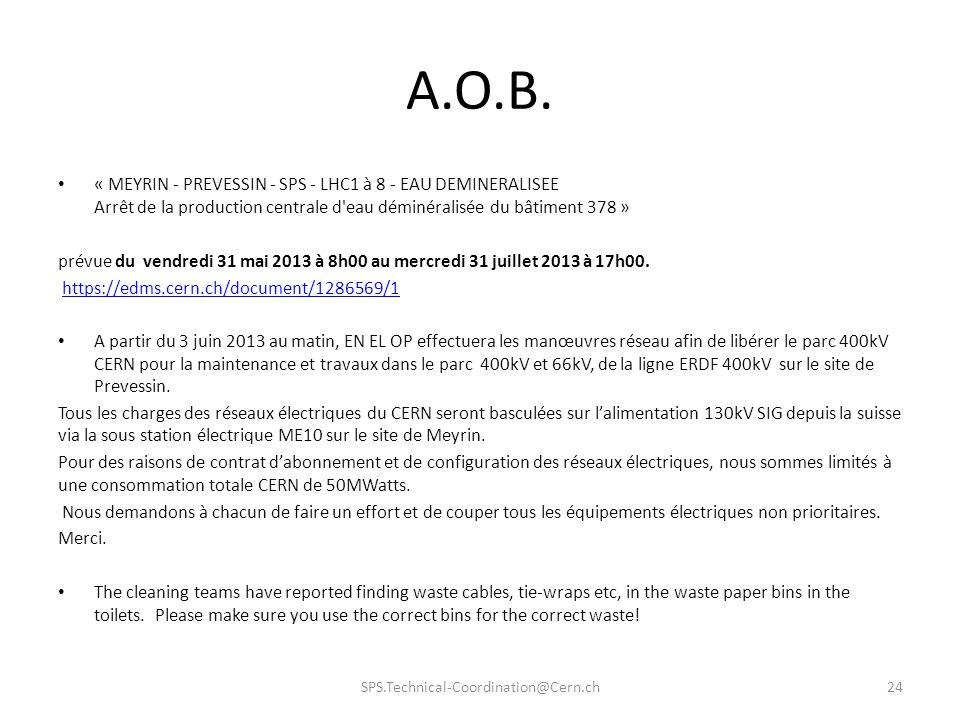 « MEYRIN - PREVESSIN - SPS - LHC1 à 8 - EAU DEMINERALISEE Arrêt de la production centrale d'eau déminéralisée du bâtiment 378 » prévue du vendredi 31