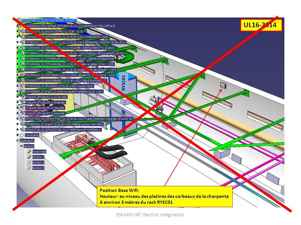 EN-MEF-INT (Section Intégration) UL16-2014 Position Base Wifi: Hauteur: au niveau des platines des corbeaux de la charpente A environ 3 mètres du rack RYSC01 RYSC01