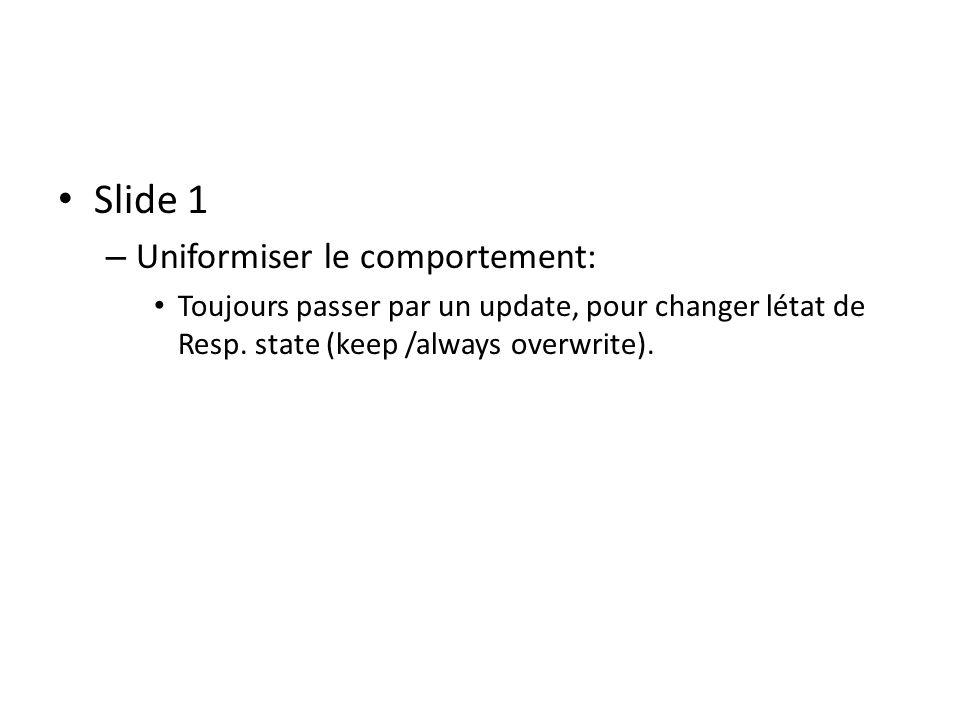 Slide 1 – Uniformiser le comportement: Toujours passer par un update, pour changer létat de Resp.