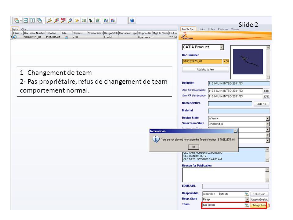 1 Slide 2 1- Changement de team 2- Pas propriétaire, refus de changement de team comportement normal.