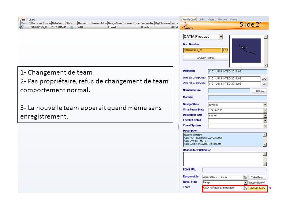 3 Slide 2 1- Changement de team 2- Pas propriétaire, refus de changement de team comportement normal.