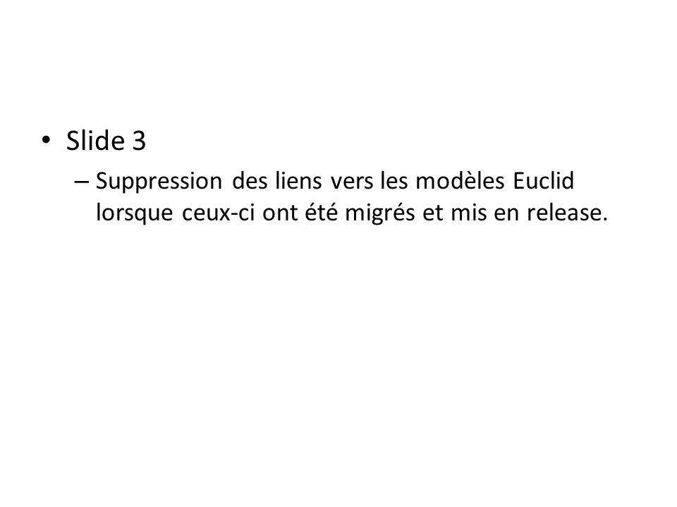 Slide 3 – Suppression des liens vers les modèles Euclid lorsque ceux-ci ont été migrés et mis en release.