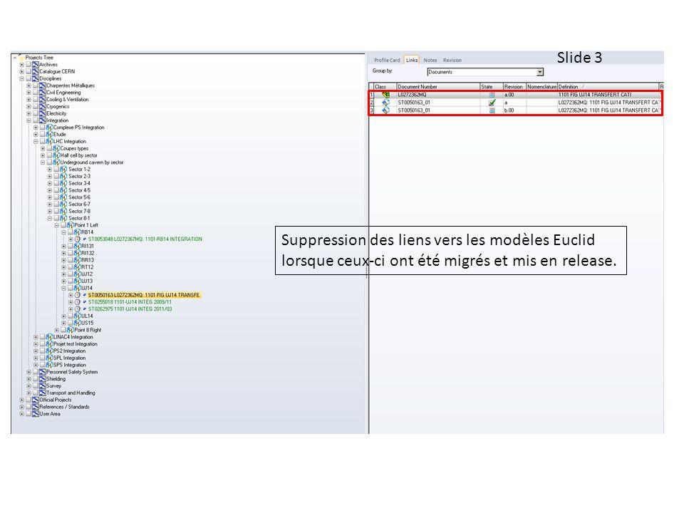 Slide 3 Suppression des liens vers les modèles Euclid lorsque ceux-ci ont été migrés et mis en release.