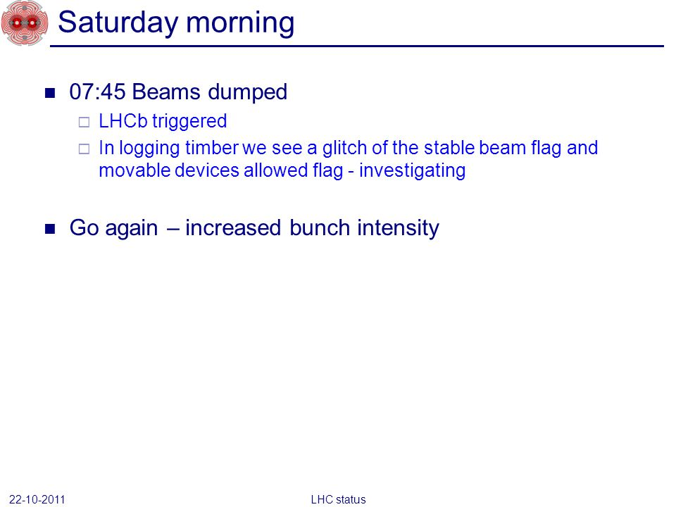 07:45 Beams dumped LHCb triggered In logging timber we see a glitch of the stable beam flag and movable devices allowed flag - investigating Go again – increased bunch intensity Saturday morning 22-10-2011 LHC status