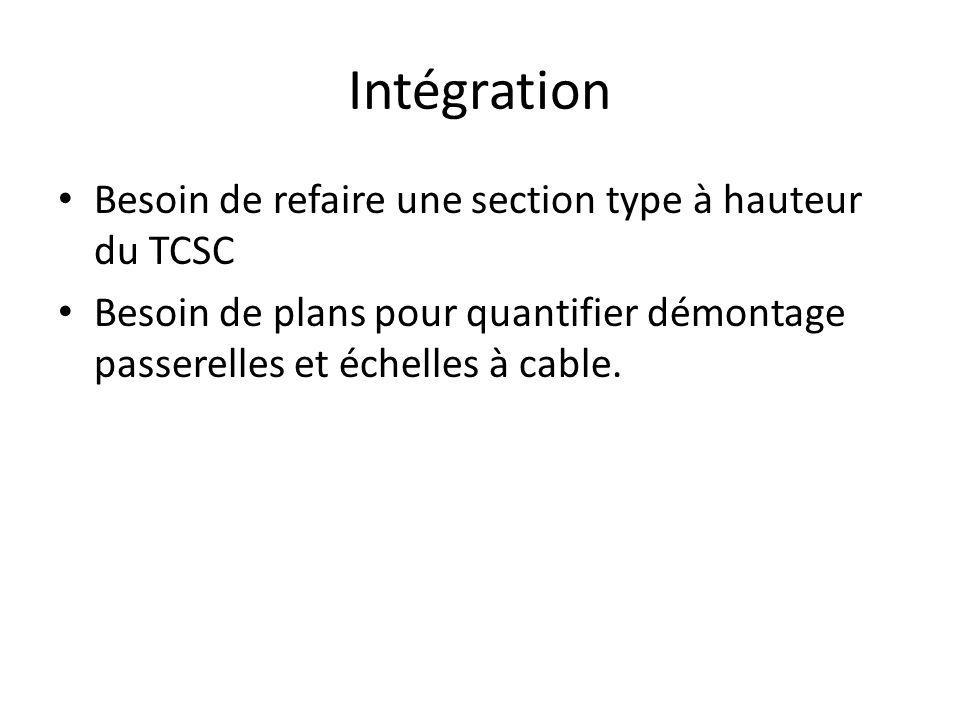 Intégration Besoin de refaire une section type à hauteur du TCSC Besoin de plans pour quantifier démontage passerelles et échelles à cable.