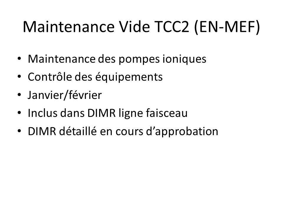 Maintenance Vide TCC2 (EN-MEF) Maintenance des pompes ioniques Contrôle des équipements Janvier/février Inclus dans DIMR ligne faisceau DIMR détaillé en cours dapprobation