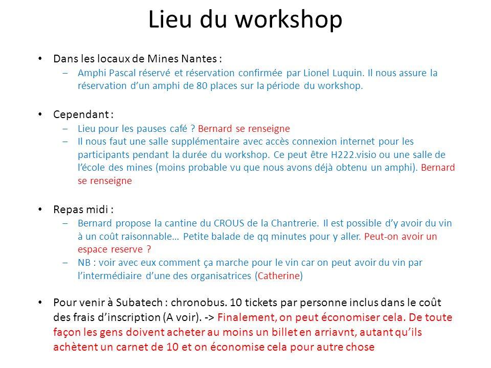 Lieu du workshop Dans les locaux de Mines Nantes : Amphi Pascal réservé et réservation confirmée par Lionel Luquin.