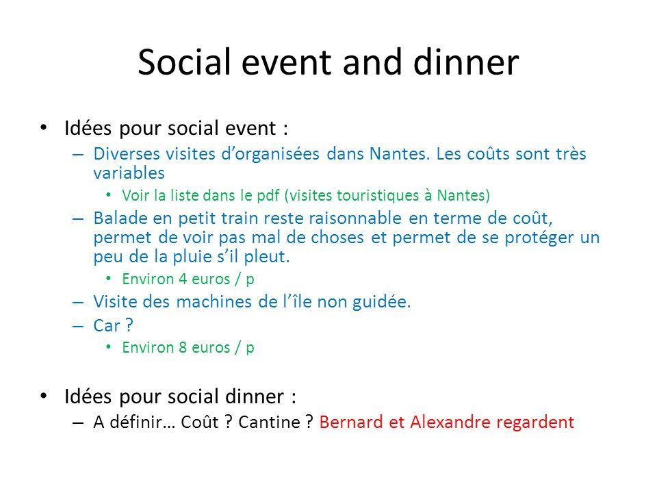 Social event and dinner Idées pour social event : – Diverses visites dorganisées dans Nantes.