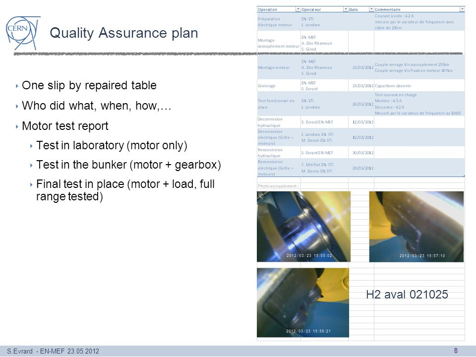 S.Evrard - EN-MEF 23.05.2012 Quality Assurance plan One slip by repaired table Who did what, when, how,… Motor test report Test in laboratory (motor only) Test in the bunker (motor + gearbox) Final test in place (motor + load, full range tested) 8 H2 aval 021025