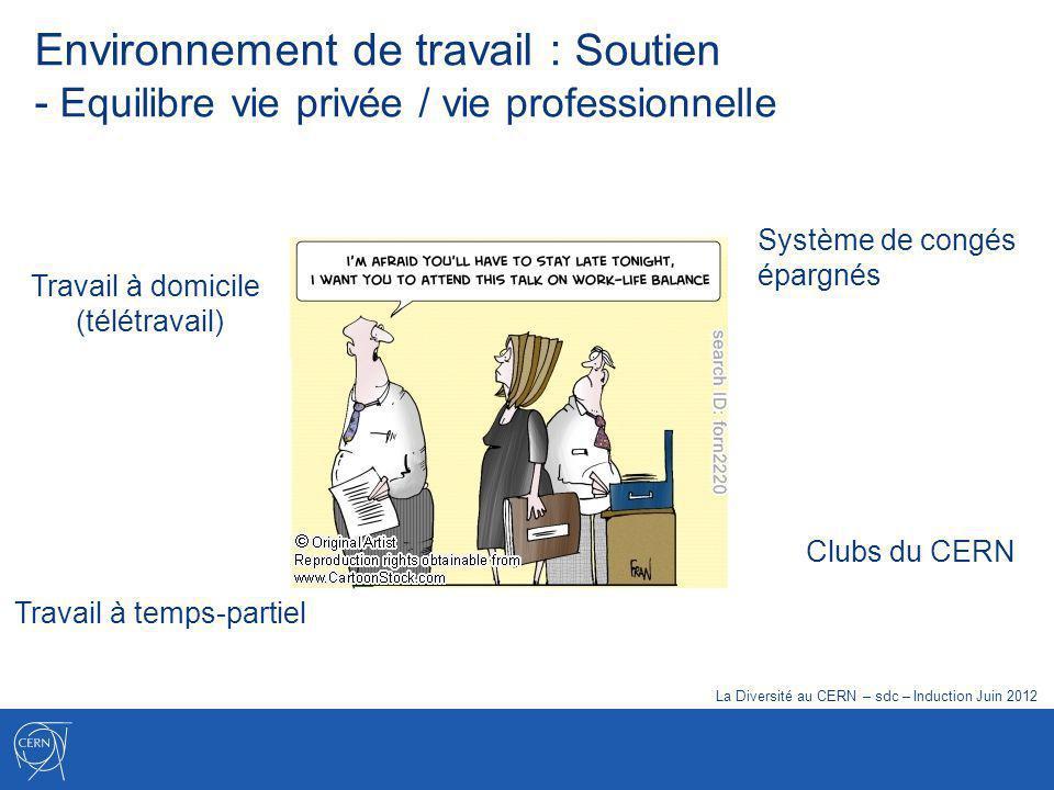 Travail à temps-partiel Travail à domicile (télétravail) Clubs du CERN Système de congés épargnés La Diversité au CERN – sdc – Induction Juin 2012 Environnement de travail : Soutien - Equilibre vie privée / vie professionnelle