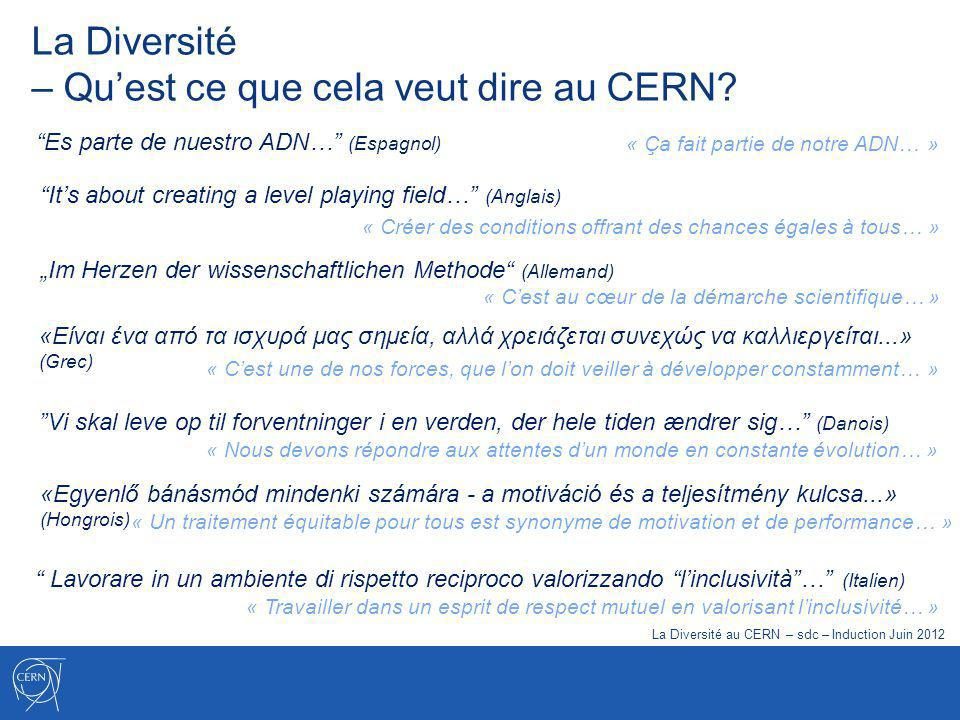 La Diversité – une des valeurs du CERN La Diversité Apprécier les différences, promouvoir légalité et favoriser lintégration Lexcellence du CERN sappuie sur un environnement où les connaissances et les points de vue de personnes très diverses sont valorisés et où le dialogue est encouragé à tous les niveaux.
