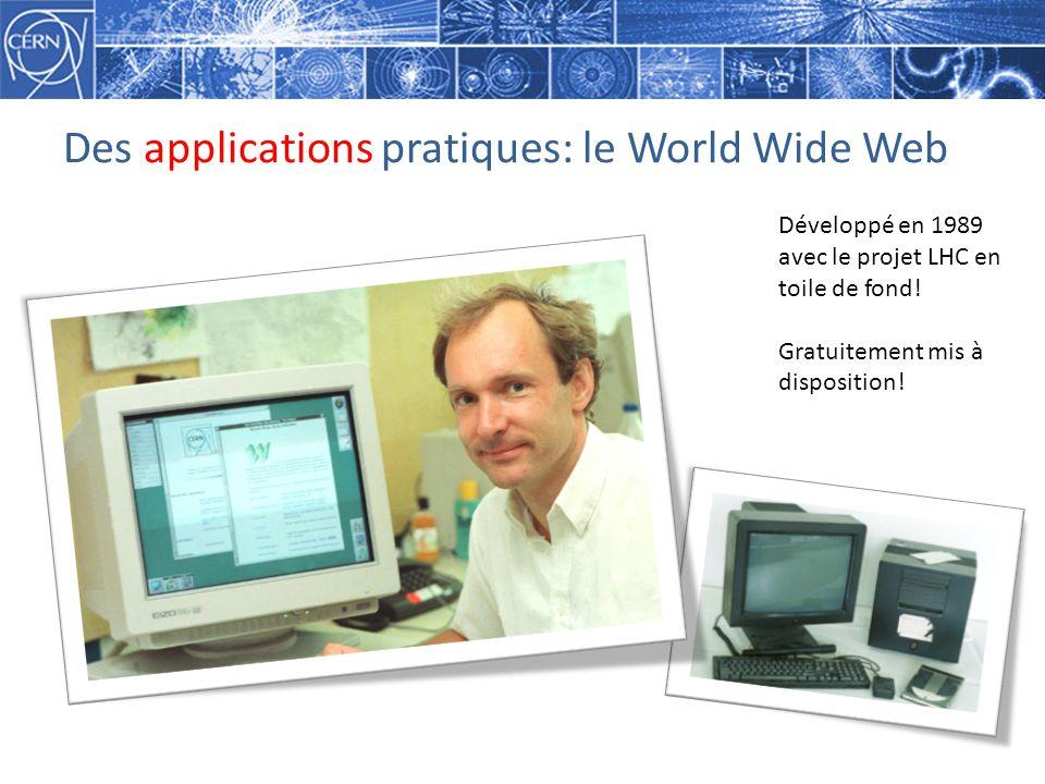 Des applications pratiques: le World Wide Web Développé en 1989 avec le projet LHC en toile de fond.