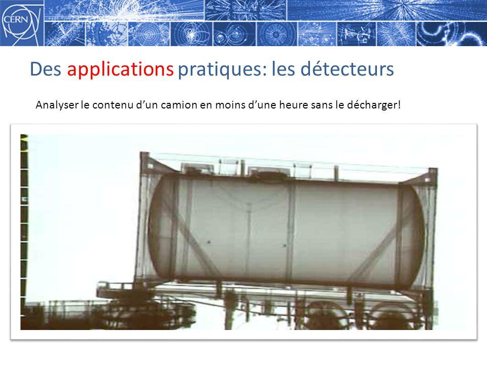 Des applications pratiques: les détecteurs Analyser le contenu dun camion en moins dune heure sans le décharger!