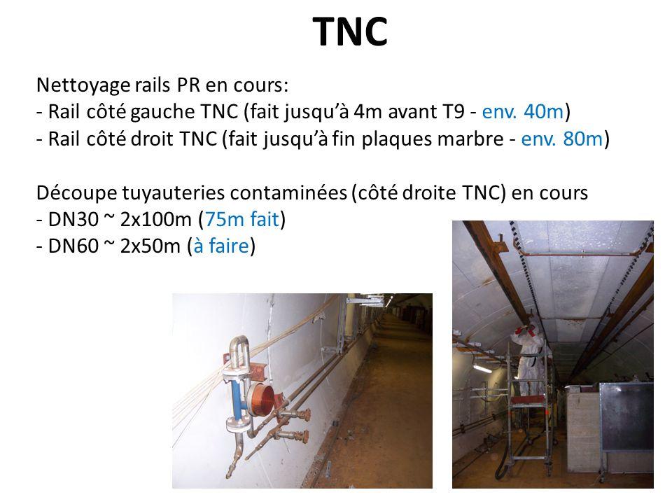 TNC Nettoyage rails PR en cours: - Rail côté gauche TNC (fait jusquà 4m avant T9 - env. 40m) - Rail côté droit TNC (fait jusquà fin plaques marbre - e