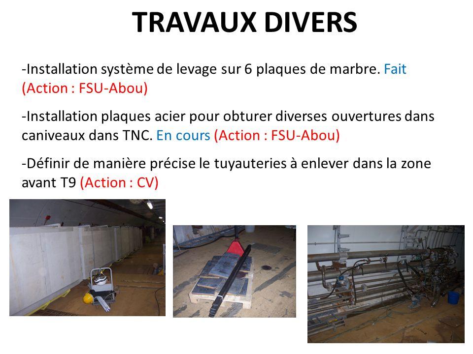 TRAVAUX DIVERS -Installation système de levage sur 6 plaques de marbre. Fait (Action : FSU-Abou) -Installation plaques acier pour obturer diverses ouv
