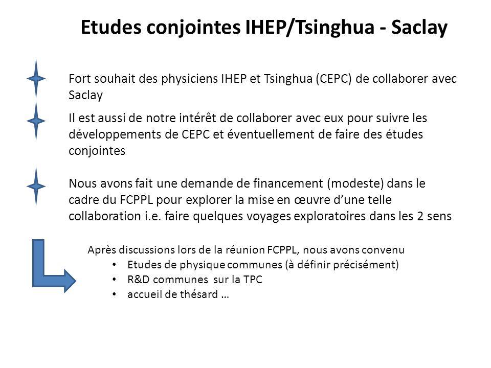 Etudes conjointes IHEP/Tsinghua - Saclay Fort souhait des physiciens IHEP et Tsinghua (CEPC) de collaborer avec Saclay Il est aussi de notre intérêt d