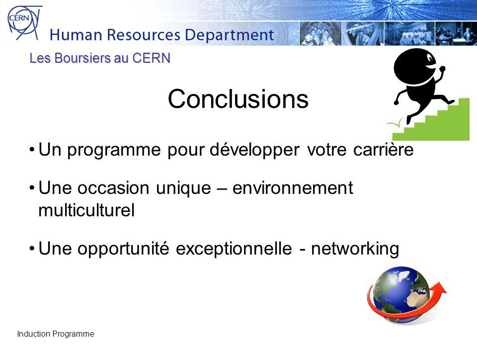 Les Boursiers au CERN Conclusions Un programme pour développer votre carrière Une occasion unique – environnement multiculturel Une opportunité except