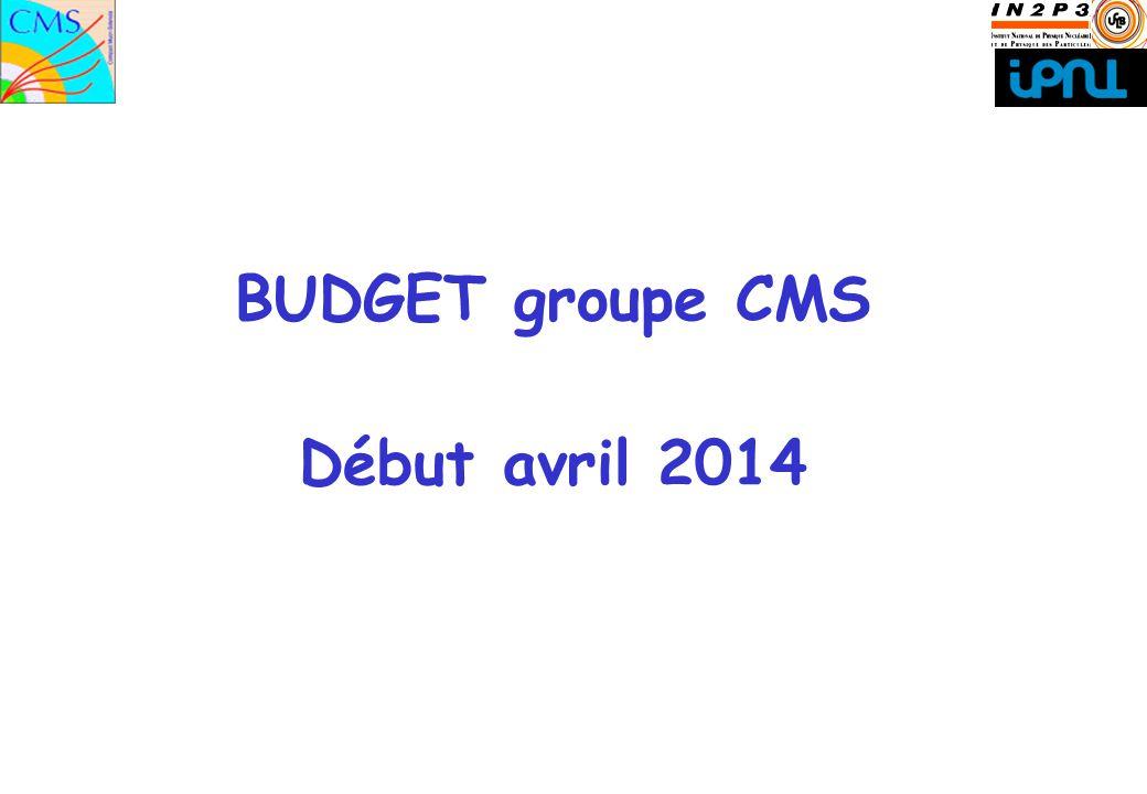 1 BUDGET groupe CMS Début avril 2014