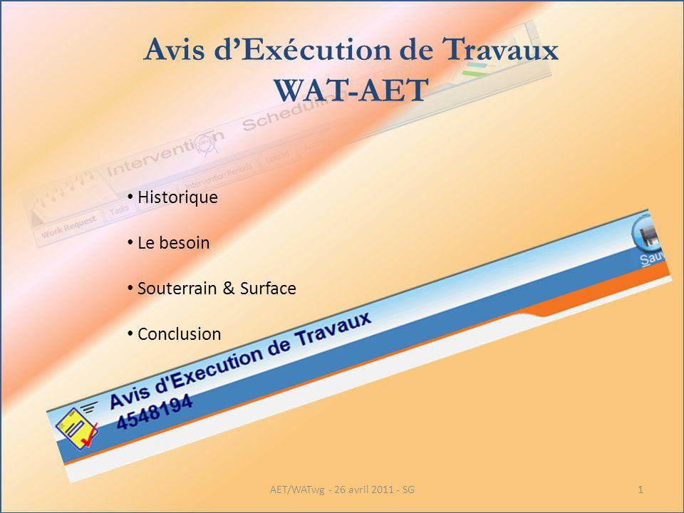Avis dExécution de Travaux WAT-AET Historique Le besoin Souterrain & Surface Conclusion 1AET/WATwg - 26 avril 2011 - SG