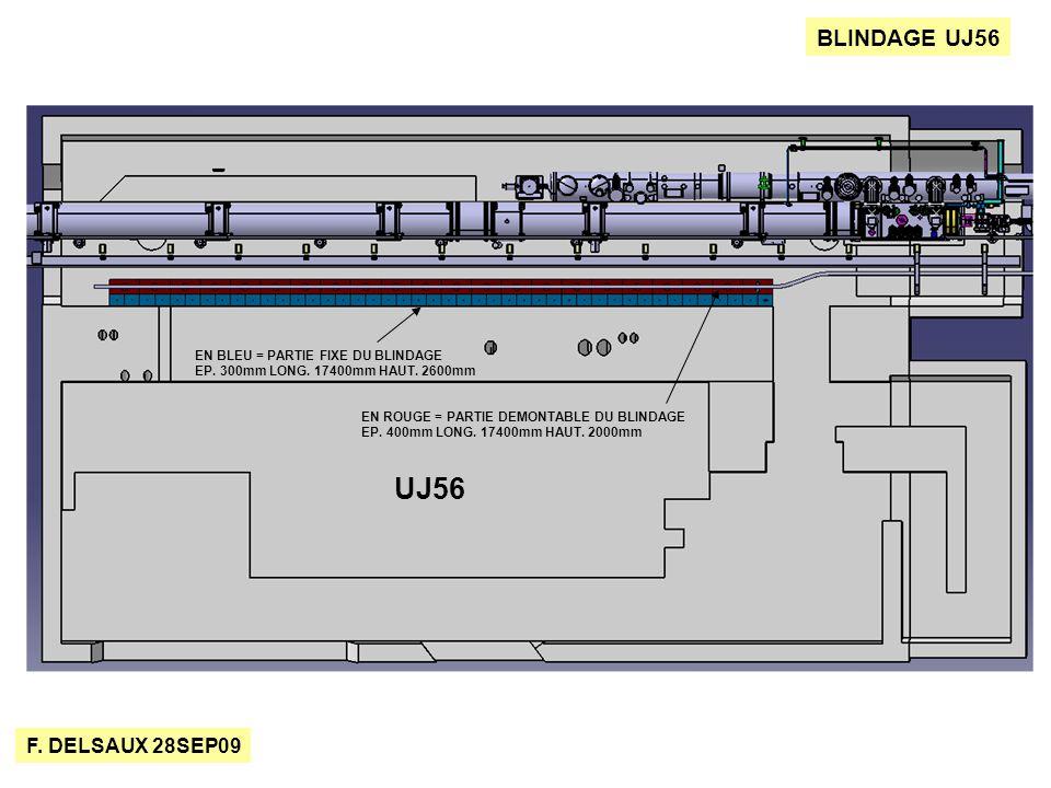 F. DELSAUX 28SEP09 BLINDAGE UJ56 UJ56 EN BLEU = PARTIE FIXE DU BLINDAGE EP.