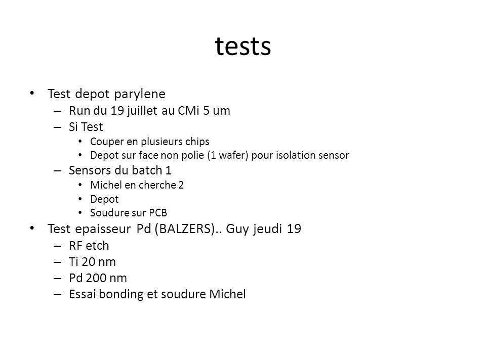 Batch 3 Etat actuel LTO 1 um depose Ouverture pads dans LTO – 3136, 3333, 3356, 6395 – Voir si problemes de R parasite (Michel mesure) – Si R parasite, analyseur dimpedaance au CEM – On avise pour tout le reste du batch Metallisation 2 – On commence par tests sur Pyrex SPIDER pour SiO2 (mardi ?) 11 Ti/Au avec RF etch (BALZERS) 12 Ti/Pd avec RF etch (BALZERS 19.7 et 20.7) avec 2 wafers Si Test Wetox 1 um – Ti/Au (20/200) epaisseur a confirmer – Ti/Pd (20/…) epaisseur selon tests
