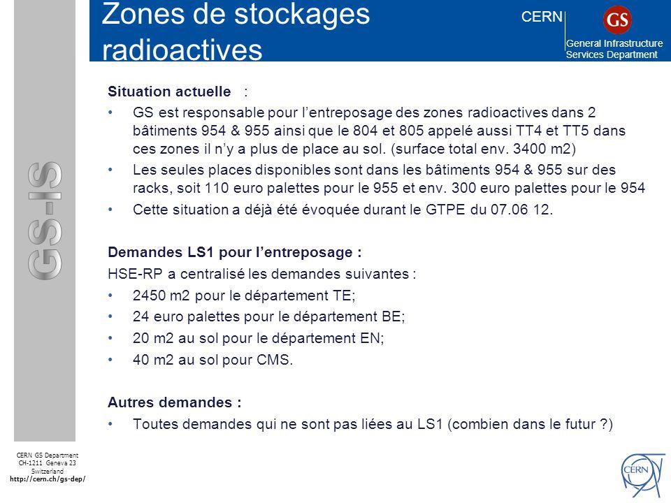 CERN General Infrastructure Services Department CERN GS Department CH-1211 Geneva 23 Switzerland http://cern.ch/gs-dep/ SMS Zones de stockages radioactives Les actions entreprises en vue du LS1 : Etape 1 : GS-IS-LS a identifié tout les propriétaires qui ont du matériel radioactif entreposé au 954,955,804 (TT4) et 805 (TT5) et en accord avec eux le matériel qui pouvait être éliminé a été transféré au ISR (lieux de stockage pour les déchets radioactifs).