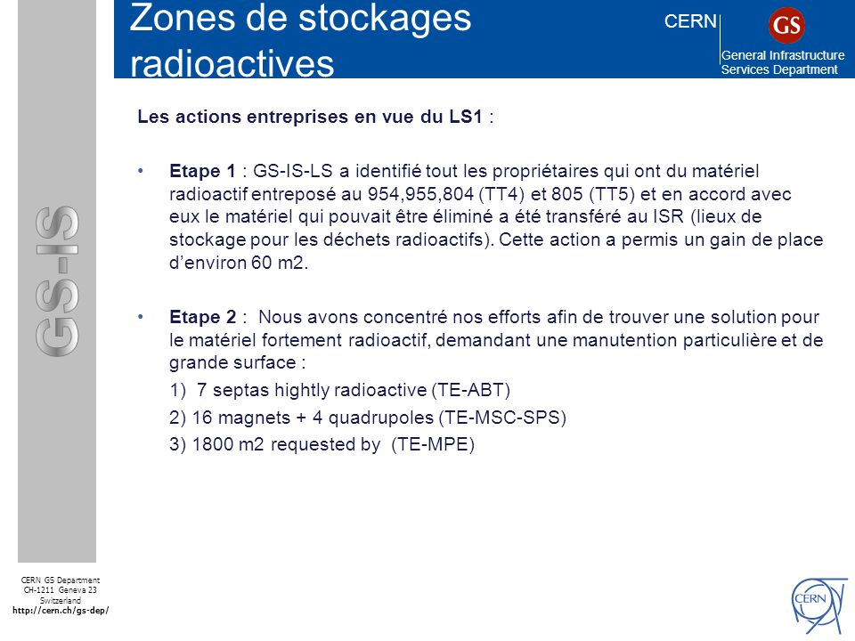 CERN General Infrastructure Services Department CERN GS Department CH-1211 Geneva 23 Switzerland http://cern.ch/gs-dep/ SMS Zones de stockages radioac