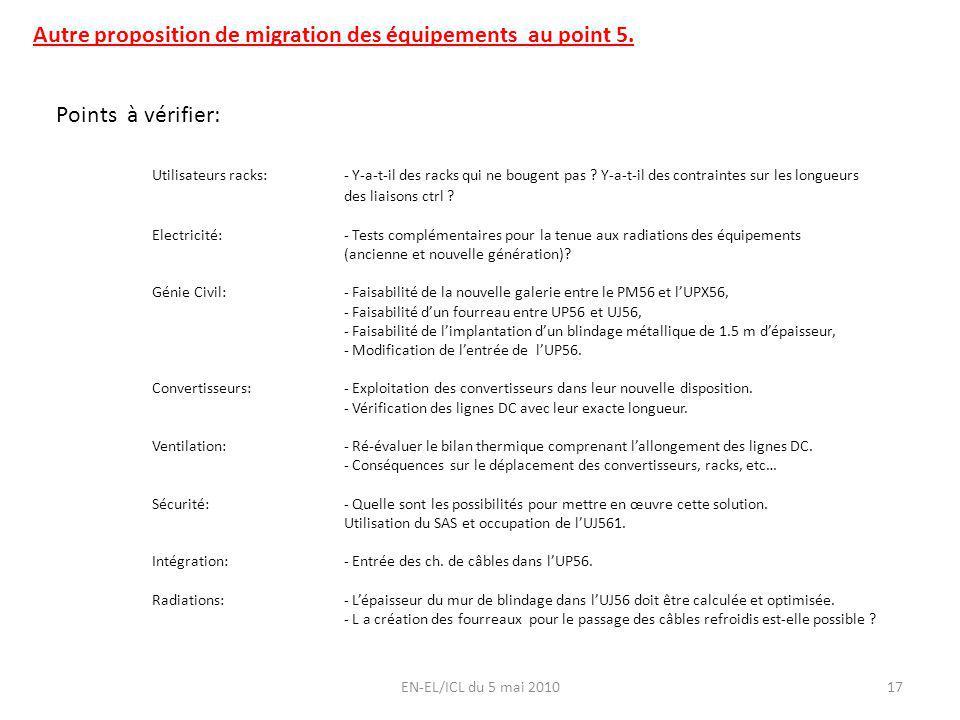 EN-EL/ICL du 5 mai 201017 Autre proposition de migration des équipements au point 5. Points à vérifier: Utilisateurs racks:- Y-a-t-il des racks qui ne