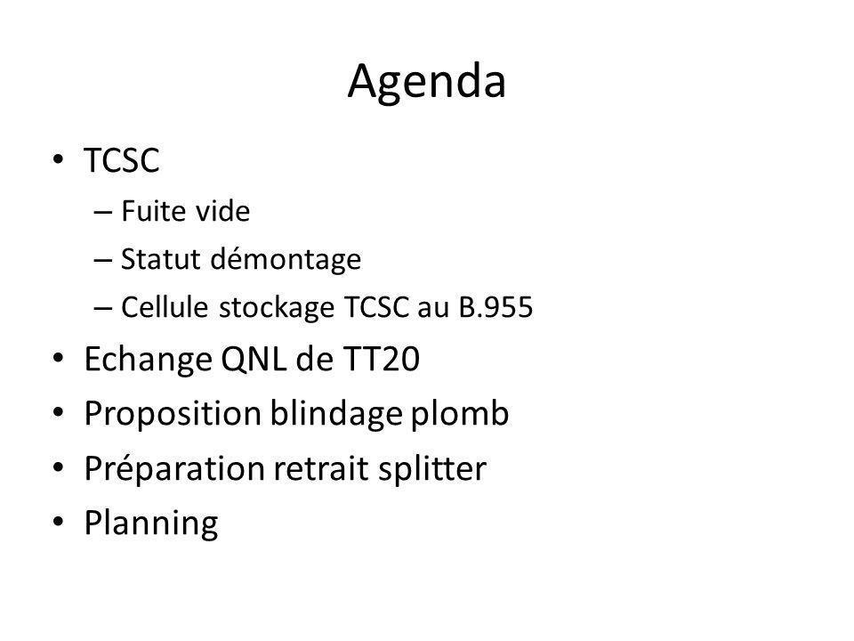 Agenda TCSC – Fuite vide – Statut démontage – Cellule stockage TCSC au B.955 Echange QNL de TT20 Proposition blindage plomb Préparation retrait splitter Planning