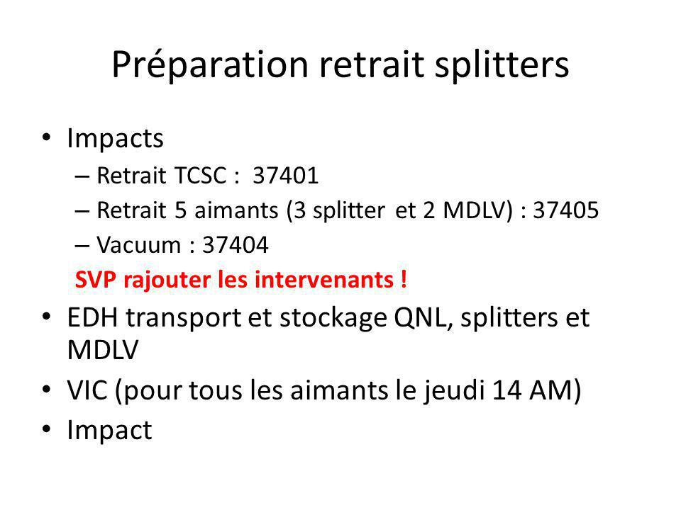 Préparation retrait splitters Impacts – Retrait TCSC : 37401 – Retrait 5 aimants (3 splitter et 2 MDLV) : 37405 – Vacuum : 37404 SVP rajouter les intervenants .
