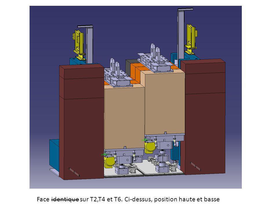 Face identique sur T2,T4 et T6. Ci-dessus, position haute et basse