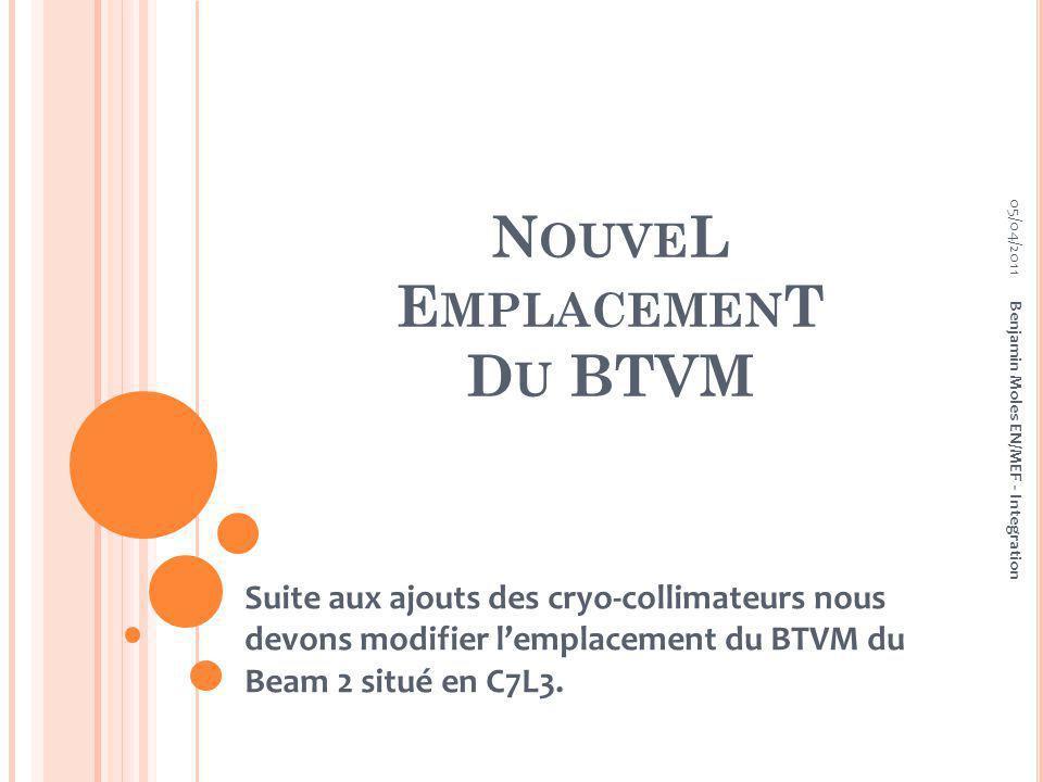 N OUVE L E MPLACEMEN T D U BTVM Suite aux ajouts des cryo-collimateurs nous devons modifier lemplacement du BTVM du Beam 2 situé en C7L3.