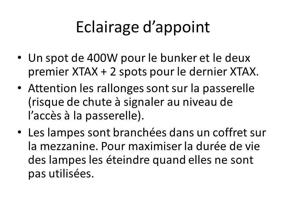 Eclairage dappoint Un spot de 400W pour le bunker et le deux premier XTAX + 2 spots pour le dernier XTAX. Attention les rallonges sont sur la passerel