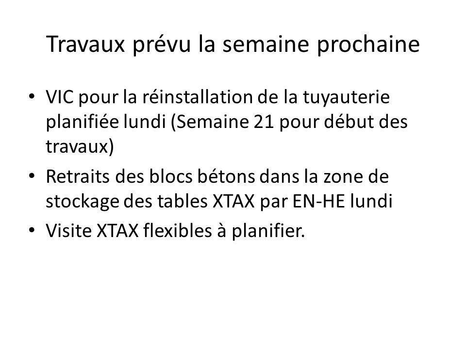 Travaux prévu la semaine prochaine VIC pour la réinstallation de la tuyauterie planifiée lundi (Semaine 21 pour début des travaux) Retraits des blocs bétons dans la zone de stockage des tables XTAX par EN-HE lundi Visite XTAX flexibles à planifier.