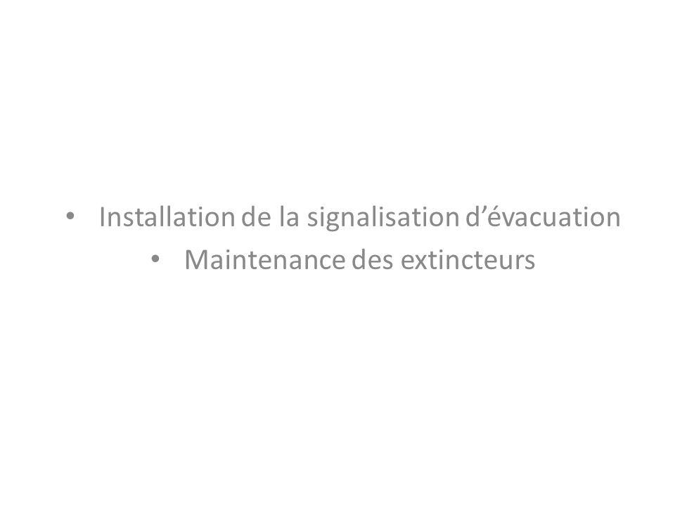 Installation de la signalisation dévacuation Maintenance des extincteurs