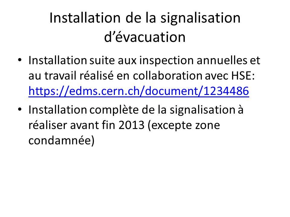 Installation de la signalisation dévacuation Installation suite aux inspection annuelles et au travail réalisé en collaboration avec HSE: https://edms
